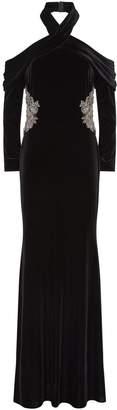 Badgley Mischka Embellished Velvet Halterneck Gown