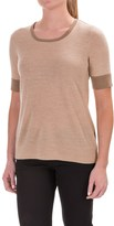 Pendleton Merino Wool Crew Neck Sweater - Contrasting Trim, Short Sleeve (For Women)