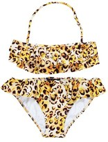 Stella Cove Girl's 'Cheetah' Ruffle Two-Piece Swimsuit