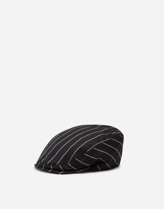 Dolce & Gabbana Flat Cap In Pinstripe Stretch Wool