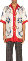 Gucci Nautical Print Oversize Bowling Shirt in Live Red & Ivory Print   FWRD