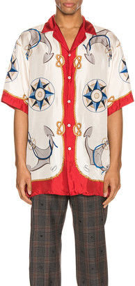 Gucci Nautical Print Oversize Bowling Shirt in Live Red & Ivory Print | FWRD