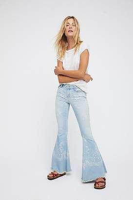 We The Free Denim Super Flare Printed Jeans by at Free People