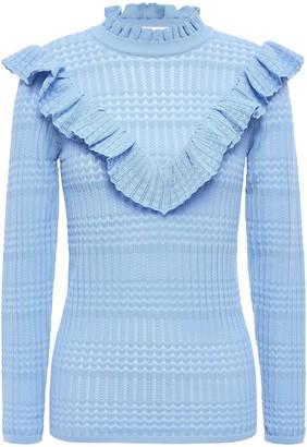 Sandro Ruffled Pointelle-knit Top