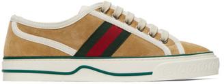 Gucci Beige Suede Tennis 1977 Low-Top Sneakers