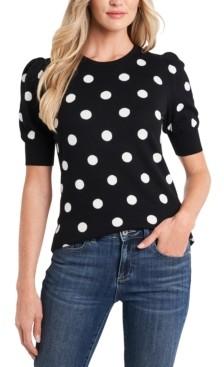 CeCe Cotton Dot-Print Puff-Sleeve Sweater
