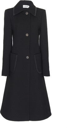 Loewe Leather-Trimmed Longline Wool Coat