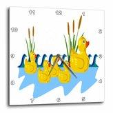 3dRose dpp_41677_1 Mama Duck with 4 Baby Ducks Wall Clock