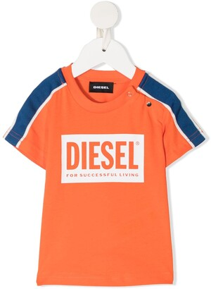 Diesel Logo Print T-Shirt With Stripe Detail