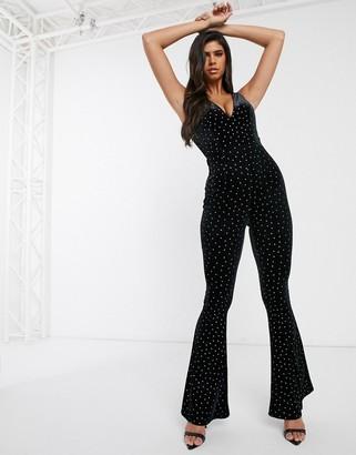 Asos Design DESIGN glitter velvet plunge jumpsuit