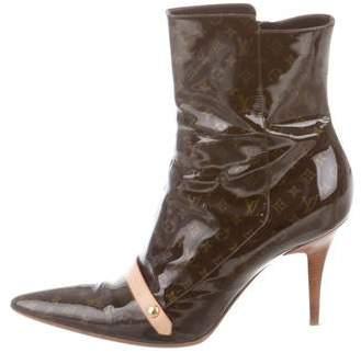 Louis Vuitton Patent Leather Monogram Boots
