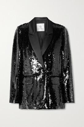 Anine Bing Ace Sequined Satin Blazer - Black