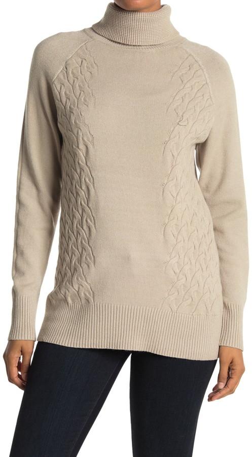 Cyrus Cable Knit Trim Turtleneck Sweater