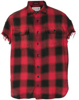 R 13 distressed checked shirt