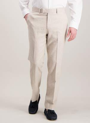Tu Stone Herringbone Tailored Fit Linen Blend Suit Trousers
