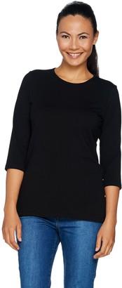 Denim & Co. Essentials 3/4 Sleeve Round Neck Top with Button Detail