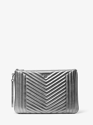 Michael Kors Jet Set Extra-Large Quilted Metallic Leather Pouch