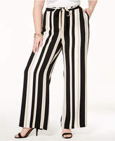 Alfani Plus Size Striped Wide-Leg Pants, Created for Macy's