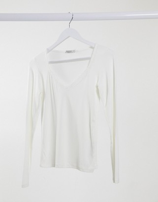 Stradivarius long sleeve top with lace trim in white