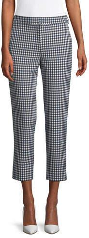 Tibi Gingham Suiting Cropped Straight-Leg Pants