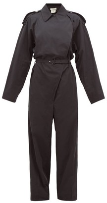 Bottega Veneta Belted Cotton-blend Wide-leg Trench Jumpsuit - Black