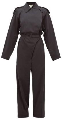 Bottega Veneta Belted Cotton-blend Wide-leg Trench Jumpsuit - Womens - Black