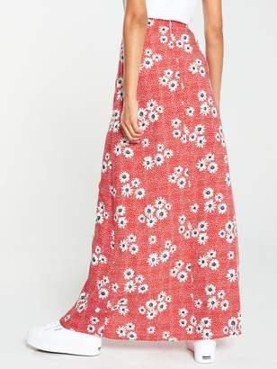 Very Spun Viscose Floral and Polka Maxi Skirt - Printed