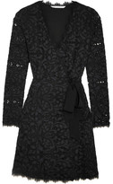 Diane von Furstenberg Shaelyn Corded Lace Wrap Mini Dress - Navy