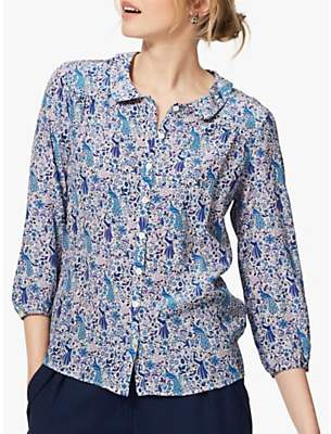 Brora Liberty Peacock Print Silk Shirt, China Blue