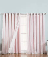 Best Home Fashion Light Pink Dotted Tulle Lace Blackout Curtain Panel Set