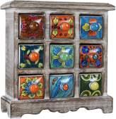 Ferus & Fivel 9 Drawer Ceramic Desktop Mini Chest of Drawers Jewellery Wood Box Cabinet 9D-CMC