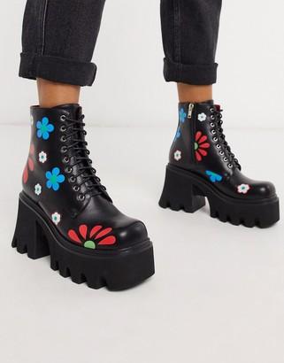 Lamoda heeled boots in black flower print
