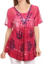 Sakkas 16789 - Reya Lace Embroidered Cap Sleeve Corset Tie Dye Blouse Top Shirt - OS