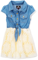 Dollhouse Sunshine & Blue Button-Front A-Line Dress - Toddler