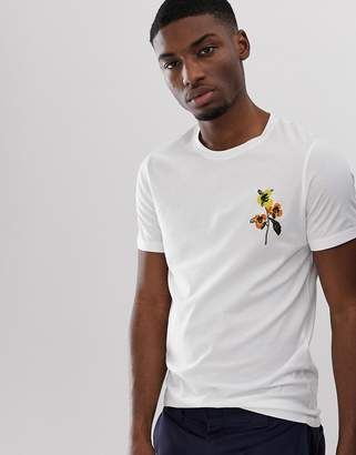 Selected t-shirt with floral embroidery-White