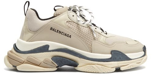 Balenciaga Triple S Leather And Mesh Trainers - Beige