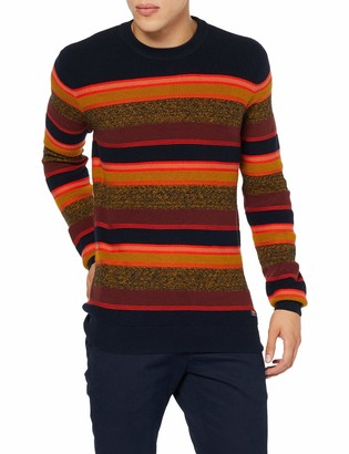 Scotch & Soda Men's Striped Crewneck Pull in Structured Knit Vest