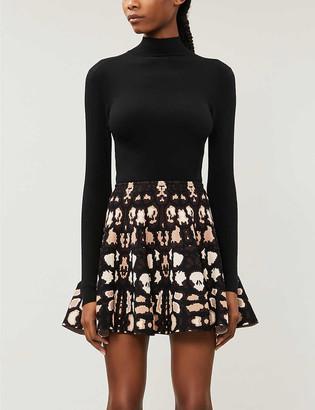 Azzedine Alaia Graphic-print high-waisted stretch-knit mini skirt
