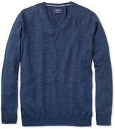 Indigo Cotton Cashmere V-neck Jumper Size Large By Charles Tyrwhitt