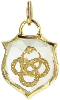 Foundrae Small Crest Sealed Quartz Wholeness Charm - Yellow Gold