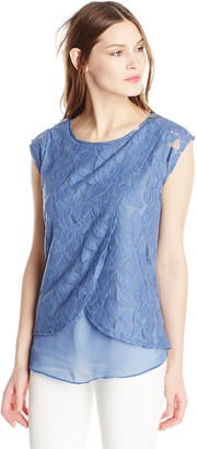 Colourworks Colour Works Women's Cap Sleeve Lace Front Pullover