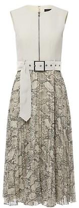 Toccin Zip Front Pleated Midi Dress