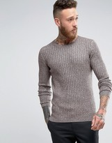 Asos Muscle Fit Ribbed Sweater in Brown & White Twist