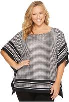 MICHAEL Michael Kors Plus Size Houndstooth Border Top Women's Clothing