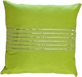 """BLUE DOLPHIN Decorative Silver Sequins Stripes & Zig Zag Embroider Throw Pillow COVER 18"""" Lime Green"""