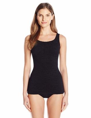 Penbrooke Women's Krinkle Chlorine-Proof Mastectomy Scoop Neck Sheath One Piece Swimsuit