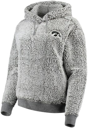 Women's Heathered Gray Iowa Hawkeyes Sherpa Inside & Out Pullover Hoodie