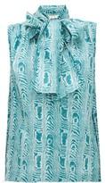 Marni Neck-tie Moire-print Silk-twill Blouse - Womens - Green Multi