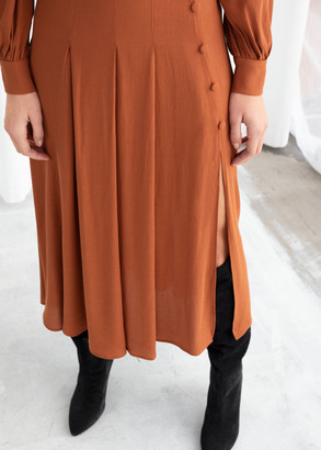 And other stories Long Sleeve Button Slit Midi Dress