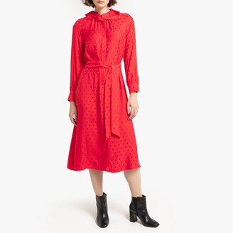 La Redoute Collections Polka Dot Jacquard Button-Through Midi Dress with Ruffles and Long Sleeves